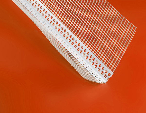 PVC plastic corner bead  used with fiberglass mesh  to protect  drywall in wall construction