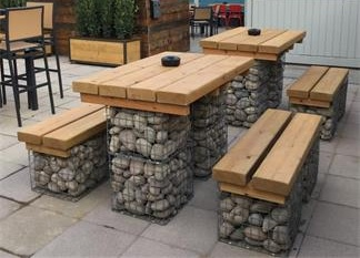 A Wonderful Furniture Made By Gabion Mesh